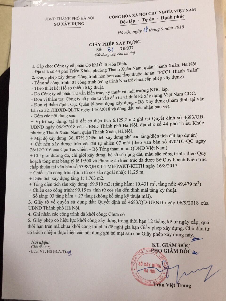 Giấy phép xây dựng dự án PCC1 Thanh Xuân