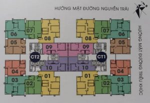 Mặt bằng chung cư PCC1 Thanh Xuân bản màu