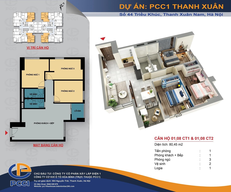 Mặt bằng căn 01, 08 tòa CT1 và CT2 DT 80.45m2 chung cư PCC1 Thanh Xuân