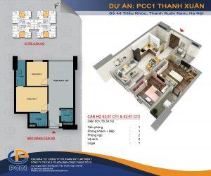 Mặt bằng căn 02, 07 tòa CT1 và CT2 DT 55.34m2 chung cư PCC1 Thanh Xuân