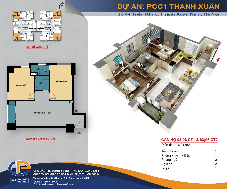 Mặt bằng căn 03, 06 tòa CT1 và CT2 DT 76.21m2 chung cư PCC1 Thanh Xuân