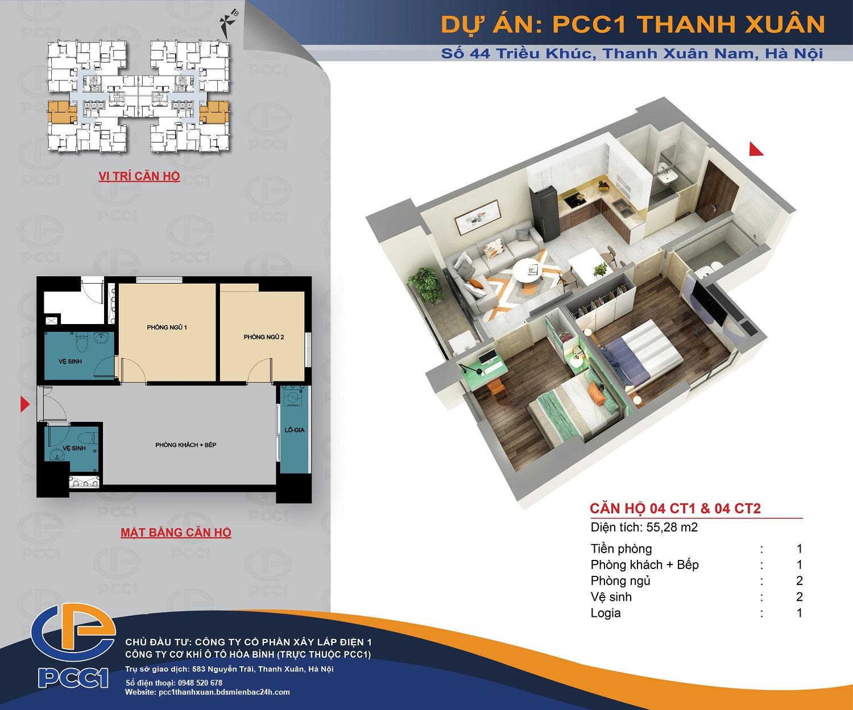 Mặt bằng căn 04 tòa CT1 và CT2 DT 55.28m2 chung cư PCC1 Thanh Xuân