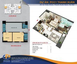 Mặt bằng căn 05 tòa CT1 và CT2 DT 55.34m2 chung cư PCC1 Thanh Xuân