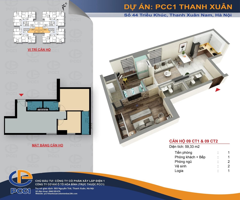 Mặt bằng căn 09 tòa CT1 và CT2 DT 59.33m2 chung cư PCC1 Thanh Xuân