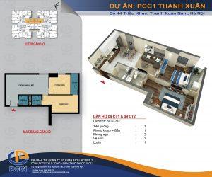 Mặt bằng căn 09 tòa CT1 và CT2 DT 60.63m2 chung cư PCC1 Thanh Xuân
