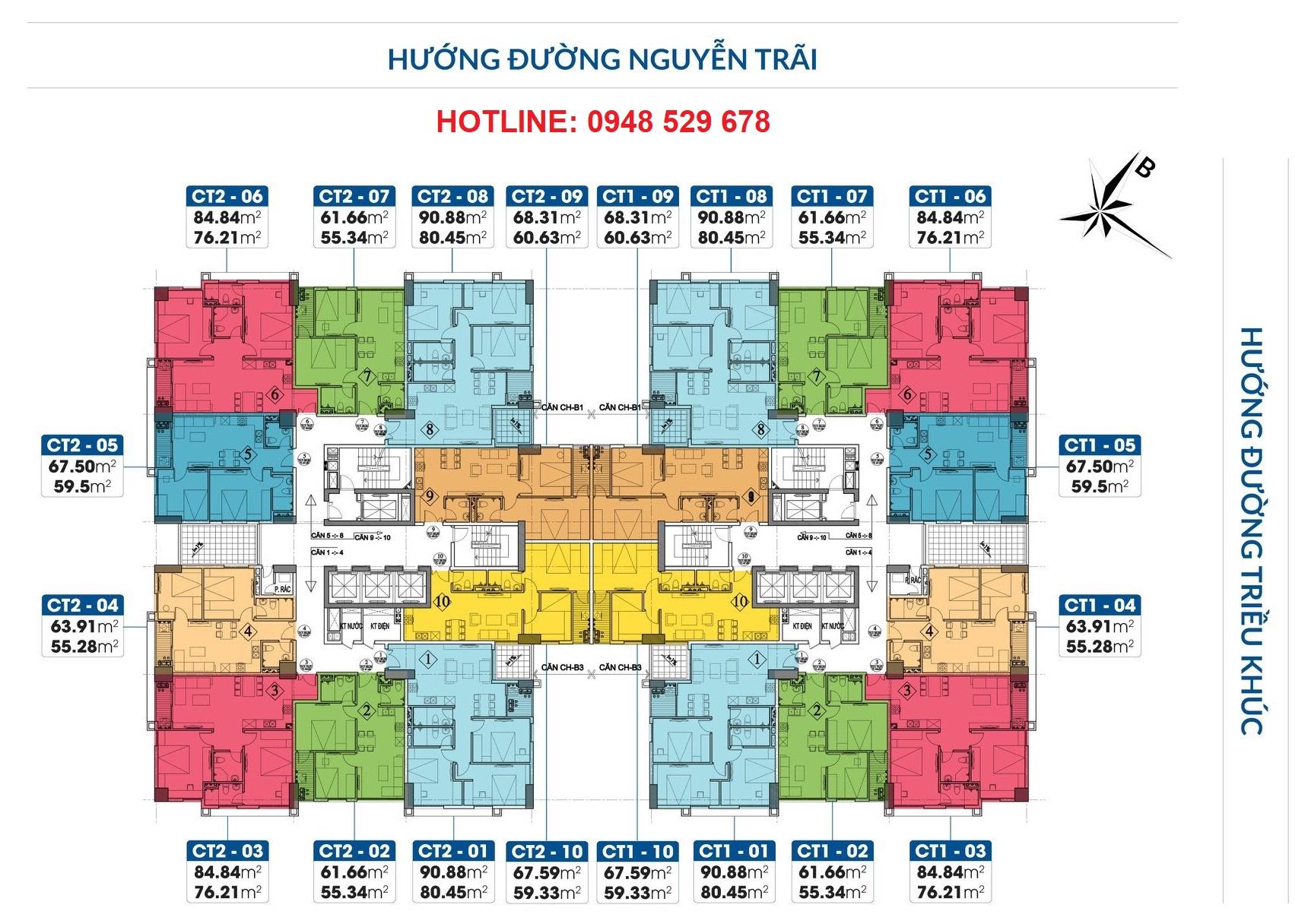 Mặt bằng chung cư PCC1 Thanh Xuân - 44 Triều Khúc