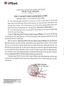Thư bảo lãnh dự án PCC1 Thanh Xuân